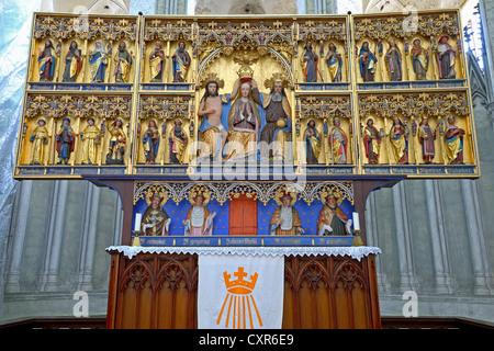 Interior view, coronation altar of Marienkirche, St. Mary's Church, Hanseatic City of Stralsund, UNESCO World Heritage - Stock Photo