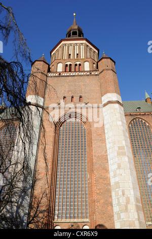 Tower of St. Mary's Church on Neuen Markt square, historic town centre, Stralsund, UNESCO World Heritage Site - Stock Photo