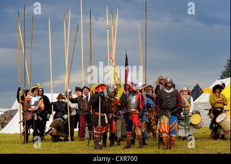 Lansquenets, foot soldiers, historical re-enactment, Landsknecht Hurra 2012, Mittelberg, Upper Allgaeu, Swabia, - Stock Photo