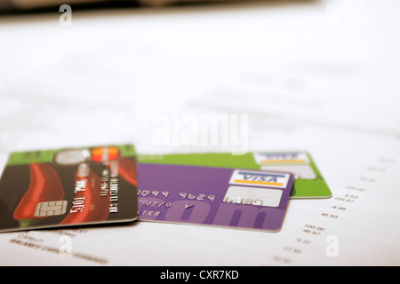 Credit debit visa cards on bank statement long list of purchases