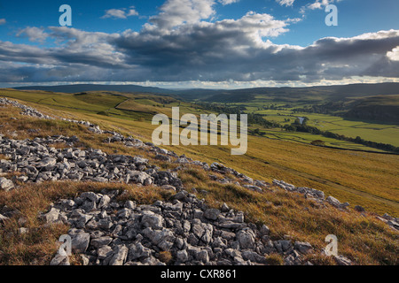 View of Wharfedale from the limestone pavement above Conistone in Yorkshire, England - Stock Photo