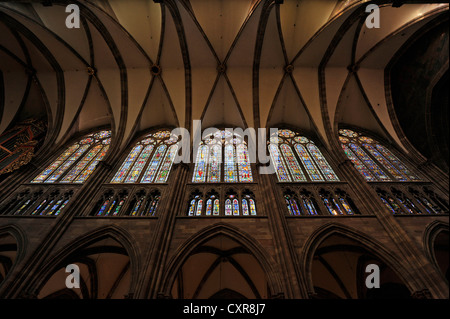 Stained glass windows, church window, northern nave, interior view of Strasbourg Cathedral, Cathedral of Our Lady - Stock Photo