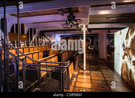 The Cutty Sark tea clipper ship with visitors exhibition aboard below deck - Stock Photo