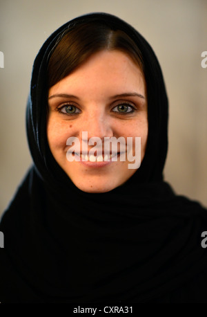 Young Woman with a veil, Istanbul, Turkey, Europe - Stock Photo