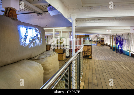 The Cutty Sark tea clipper Greenwich. Exhibition area for visitors below deck - Stock Photo