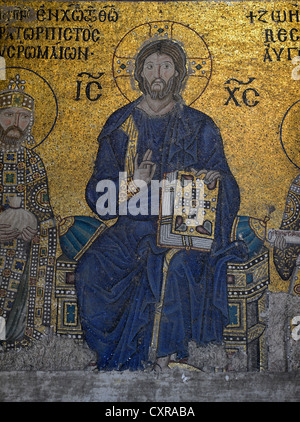 Mosaic of Christ Pantocrator blessing, image of Christ with the bible of narthex, Byzantine Deësis mosaic on the - Stock Photo