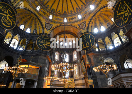 Interior view, main room, dome, pendentives, Hagia Sophia, Ayasofya, UNESCO World Heritage Site, Istanbul, Turkey, - Stock Photo