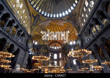 Interior view, main room, dome, Hagia Sophia, Ayasofya, UNESCO World Heritage Site, Istanbul, Turkey, Europe - Stock Photo