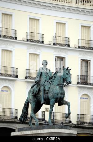 Equestrian statue, monument to King Carlos III, Plaza Puerta del Sol square, Madrid, Spain, Europe, PublicGround - Stock Photo