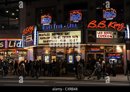B.B. King Blues Club and Grill at night, 42nd Street, Times Square, Midtown Manhattan, New York City, New York, - Stock Photo