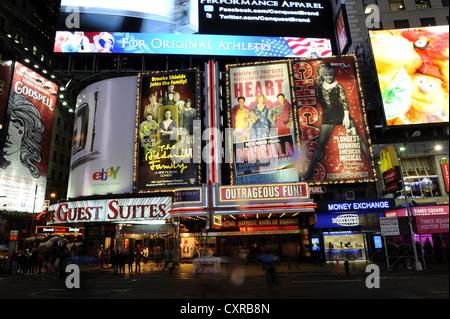 Times Square at night, Broadway, Midtown Manhattan, New York City, New York, USA, United States of America, North - Stock Photo