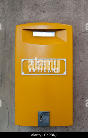 Yellow mailbox of the Vatican post office, Poste Vaticane, Vaticano, Vatican, Vatican City, Rome, Lazio, Italy, - Stock Photo