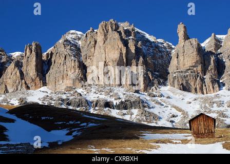 Sella Val Gardena, view from Sella Ronda - Stock Photo