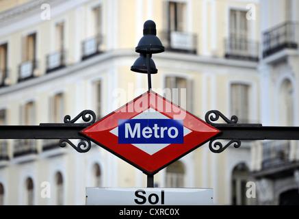 Sol metro station in front of the Presidencia de la Comunidad de Madrid building, Antigua Casa de Correos building, - Stock Photo
