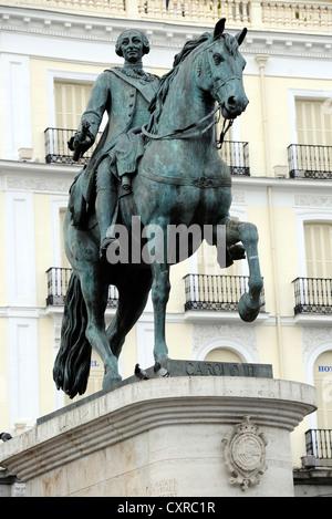 Equestrian statue, monument, King Carlos III, Plaza Puerta del Sol square, Madrid, Spain, Europe, PublicGround - Stock Photo