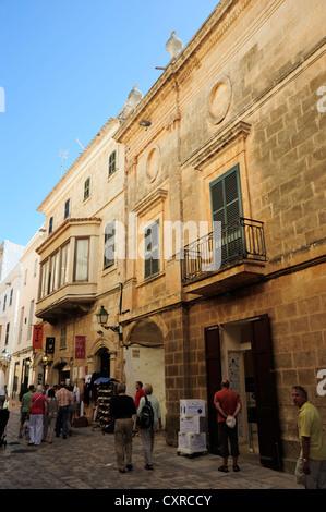 Major des Born street and the Can Salort Palace, Ciutadella, Minorca, Menorca, Balearic Islands, Mediterranean, - Stock Photo