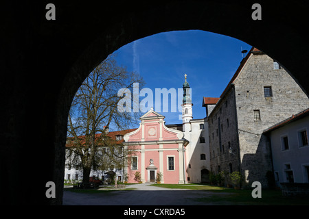 Church of St. Michael at Burg Tittmoning Castle, Chiemgau region, Upper Bavaria, Bavaria, Germany, Europe - Stock Photo
