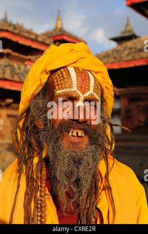 Sadhu at the Durbar Square in Kathmandu, Nepal, Asia - Stock Photo
