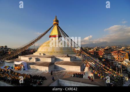 Boudhanath Stupa, Kathmandu, Kathmandu Valley, UNESCO World Heritage Site, Nepal, Asia - Stock Photo