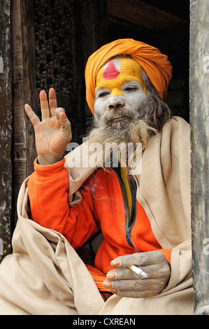 Sadhu in Pashupatinath, Kathmandu, Kathmandu Valley, Nepal, Asia - Stock Photo
