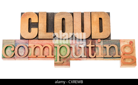 cloud computing - technology concept - isolated text in vintage letterpress wood type - Stock Photo