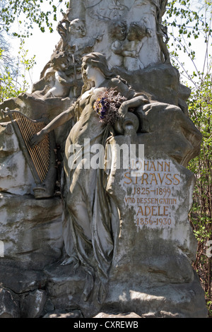 The grave of the Austrian composer Johann Baptist Strauss II in the Zentralfriedhof cemetery, Simmering, Vienna, - Stock Photo