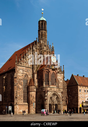 Frauenkirche church, Nuremberg, Middle Franconia, Franconia, Bavaria, Germany, Europe - Stock Photo