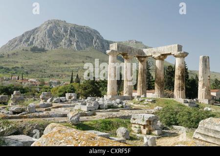 Temple of Apollo, ancient Corinth, Nauplia, Peloponnese, Greece, Europe - Stock Photo