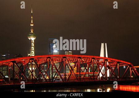 Waibaidu Bridge, Oriental Pearl Tower, skyline on the Bund promenade, Huangpu River, Shanghai, China, Asia - Stock Photo