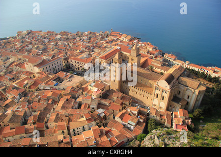 View from the Rocca di Cefalù overlooking the old town of Cefalù, Sicily, Italy, Europe - Stock Photo