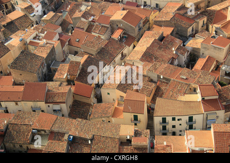 Rooftops in the old town of Cefalù, Sicily, Italy, Europe - Stock Photo