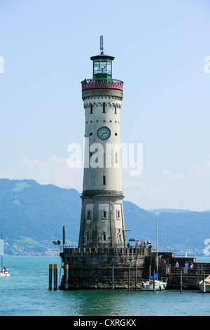 Harbor tower of Lindau, with lake constance, bavaria, germany - Stock Photo
