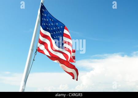 U.S. flag, Captiva Island, Sanibel Island, Florida, USA - Stock Photo