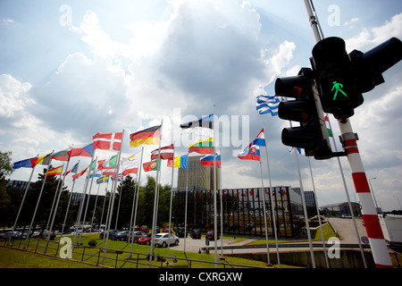 Green traffic lights in front of the national flags of the member states of the European Union, building of the - Stock Photo