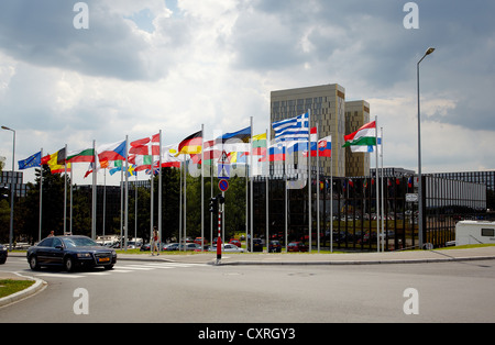 Flags of the member states of the European Union in front of the building of the European Commission in Luxembourg, - Stock Photo