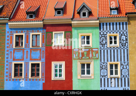 Buildings in the Old Town square in Poznan, Poland - Stock Photo