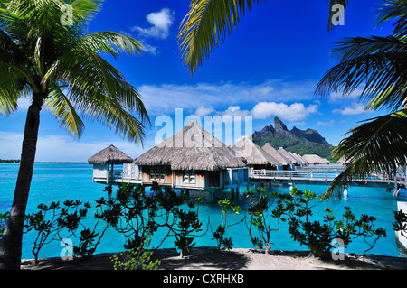 St. Regis Bora Bora Resort, Bora Bora, Leeward Islands, Society Islands, French Polynesia, Pacific Ocean - Stock Photo