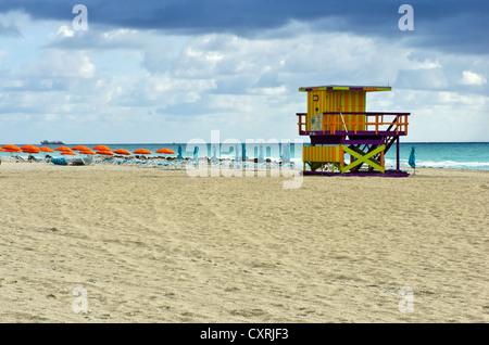 Lifeguard hut, South Beach, Miami, Florida, USA - Stock Photo