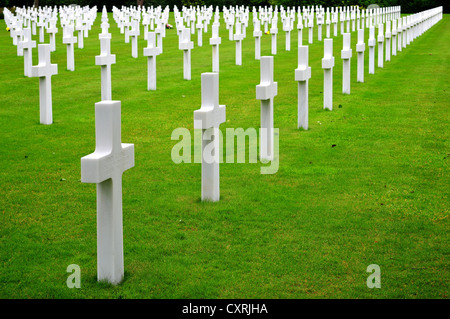 Graves at the American Cemetery and Memorial in Normandy, France - Stock Photo