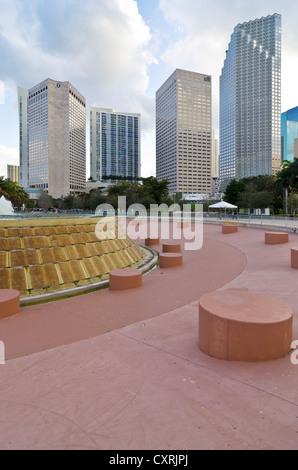 Bayfront Park in downtown Miami, Florida, USA - Stock Photo