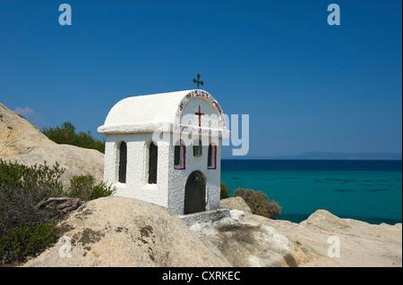 Chapel on the beach, Portokali Beach, Kavourotypes, Sithonia, Halkidiki, Greece, Europe Stock Photo