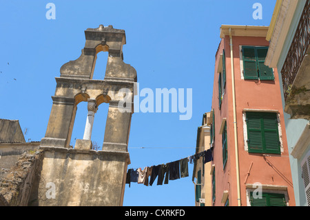 Old town of Corfu Town, Kerkyra, Corfu, Ionian Islands, Greece, Europe - Stock Photo
