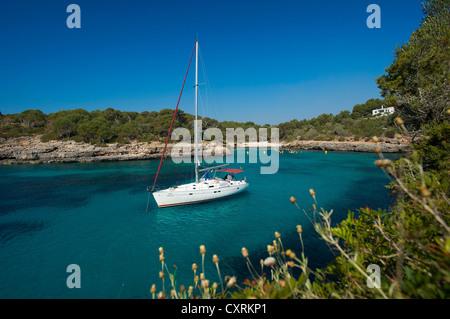Sailing yacht in the Cala Sa Nau, Majorca, Balearic Islands, Spain, Europe - Stock Photo