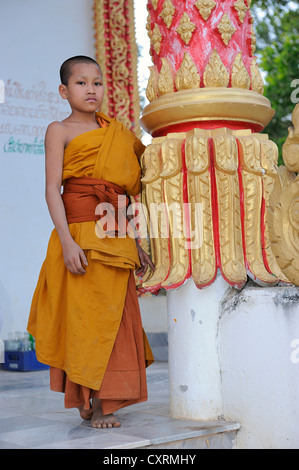 Young Buddhist monk at a temple in Vang Vieng, Laos, Southeast Asia - Stock Photo
