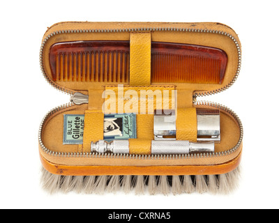 Vintage gentlemen's travel / shaving kit with brush, comb and Gillette razor - Stock Photo