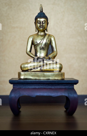 Meditating Buddha, ancient Buddha statue, 19th century, Laos - Stock Photo