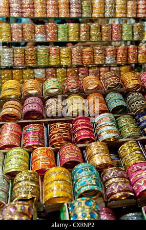 Colourful bangles, Calcutta or Kolkata, West Bengal, India, Asia - Stock Photo