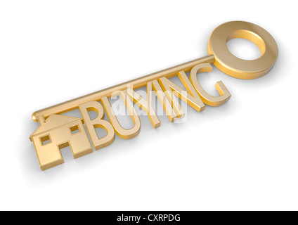 Gold key with the word BUYING and a house symbol - property concept