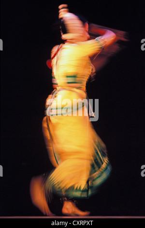 Motion study, classical Indian dance, dancer, Bharata Natyam or Bharatanatyam dancer, Hyderabad, Andhra Pradesh, - Stock Photo