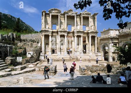 Celsus Library, ancient city of Ephesus, Turkey, Europe, Asia Minor - Stock Photo